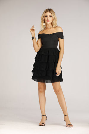 Mantra Pakistan Black off shoulder Flared Dress | DRESS