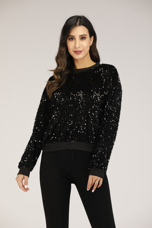 Mantra Pakistan Black Sequin Top | OUTERWEAR