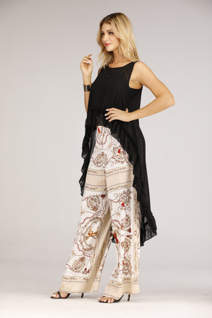 Mantra Pakistan Black Sheer High-Low Top | TOPS