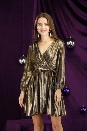 Mantra Pakistan Golden Foil Dress | DRESS