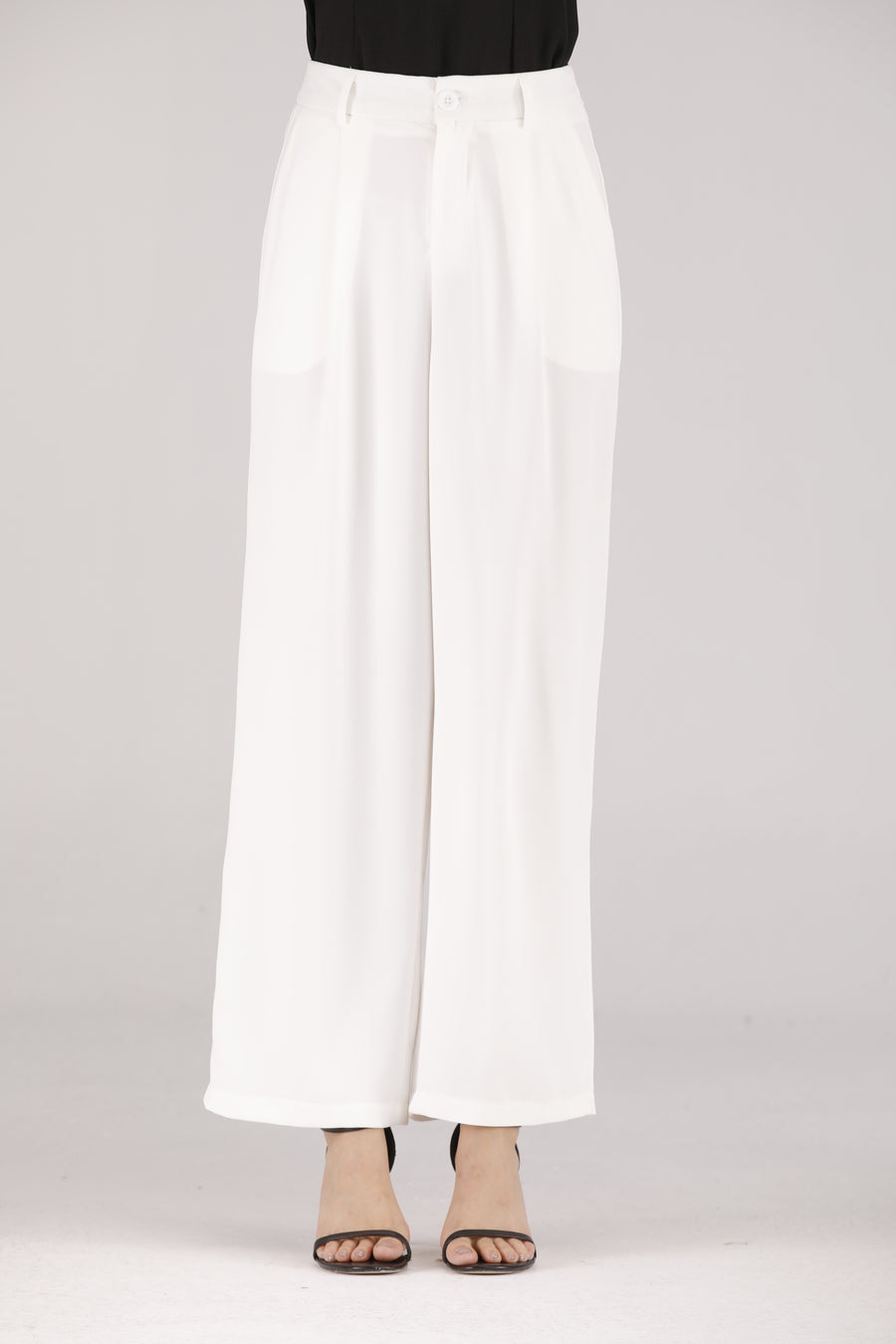 Mantra Pakistan White Pants with White Button | BOTTOMS