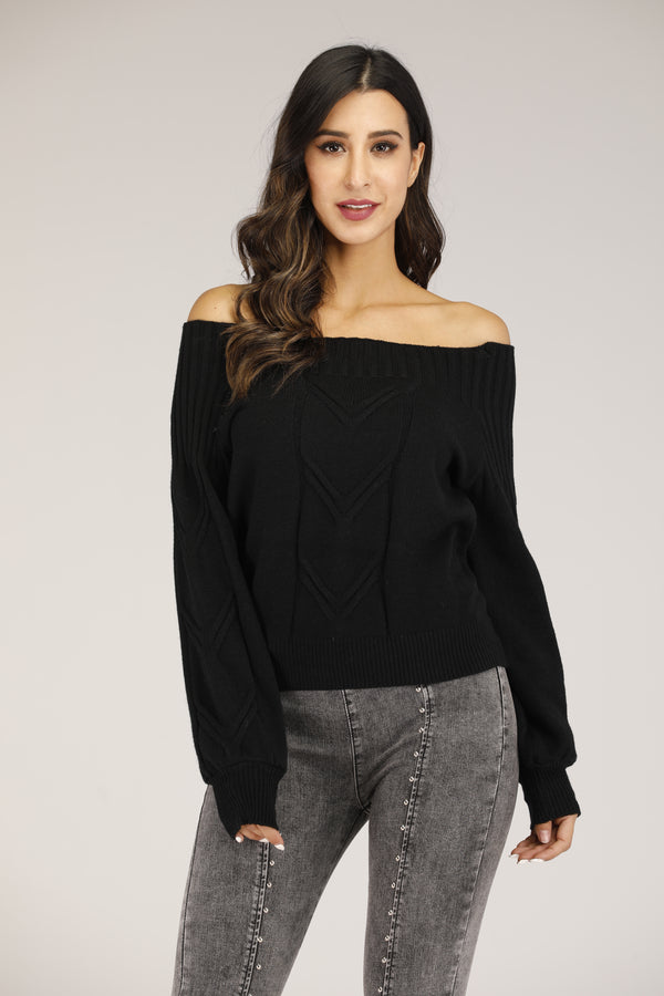 Mantra Pakistan Black Off Shoulder Sweater | OUTERWEAR