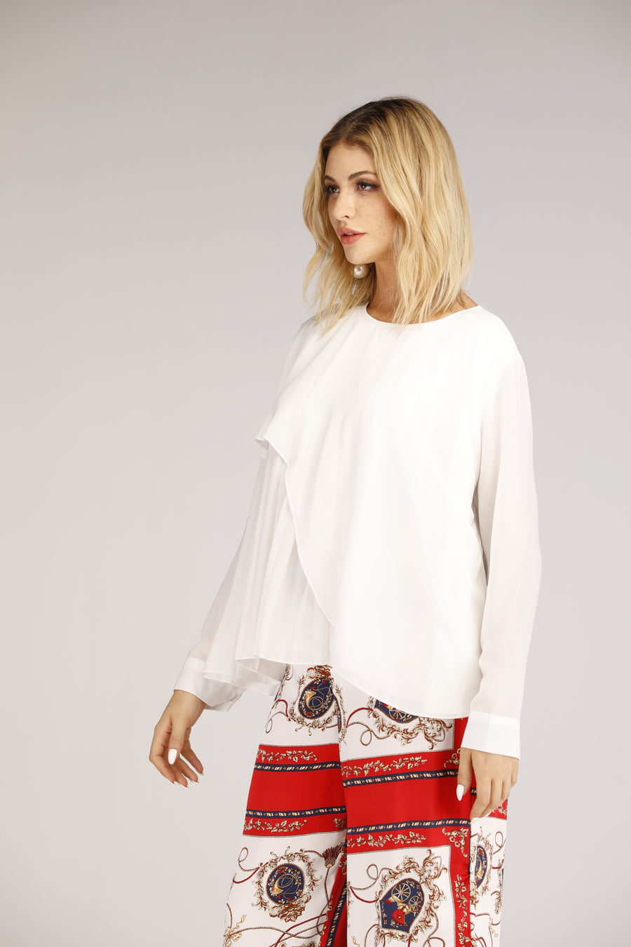 White Pleated Top With Half Overlay
