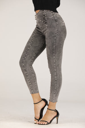 Mantra Pakistan Grey Skinny Jeans with Silver Studs | BOTTOMS
