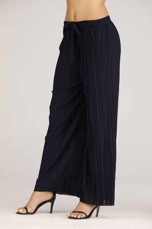 Pleated Wide Leg Pants with front-Tie