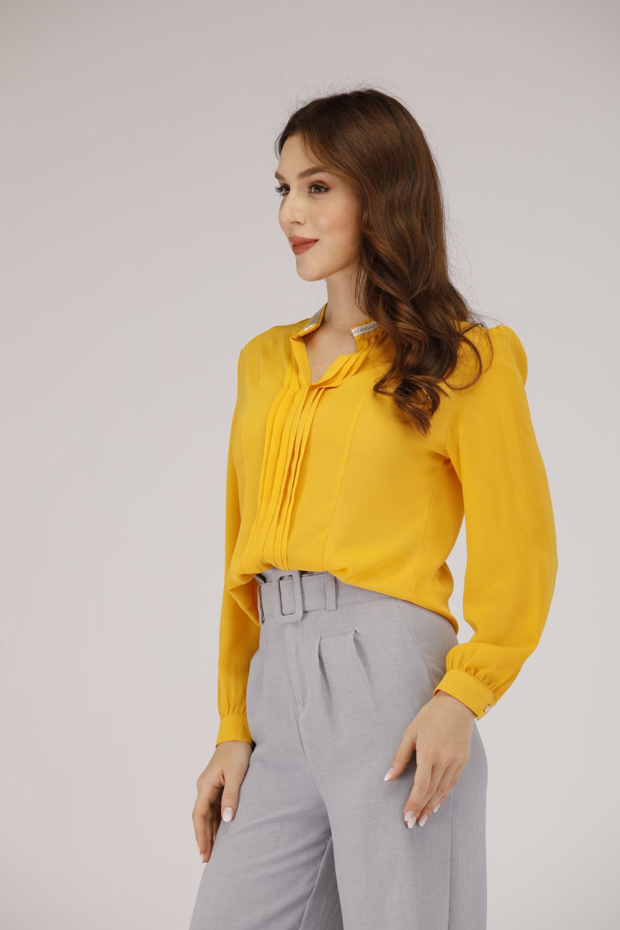 Mantra Pakistan Straight Collar Shirt with Pleats | TOPS