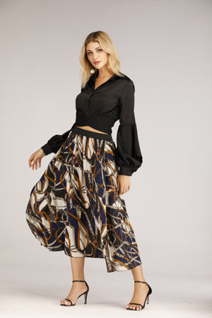 Mantra Pakistan Blue Chain Printed Skirt | BOTTOMS