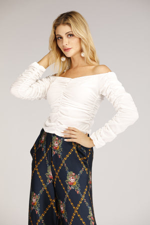 Mantra Pakistan Off Shoulder Scrunched Top | TOPS