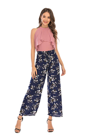 Mantra Pakistan Blue Floral Trouser | Western Wear