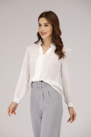 Mantra Pakistan White Straight Collar Shirt with Pleats | TOPS