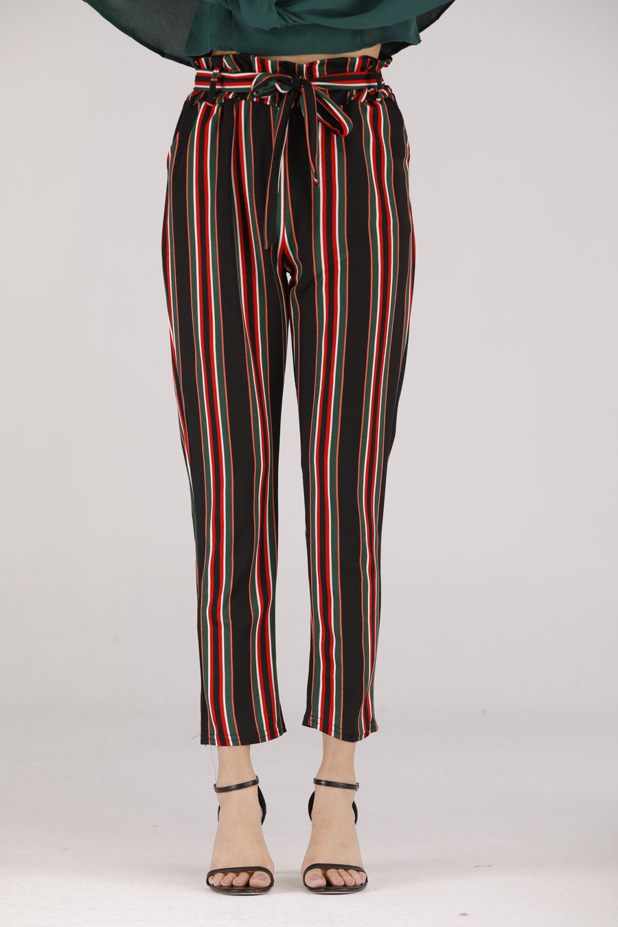 Mantra Pakistan Striped Pants wIth Tie Belt | BOTTOMS