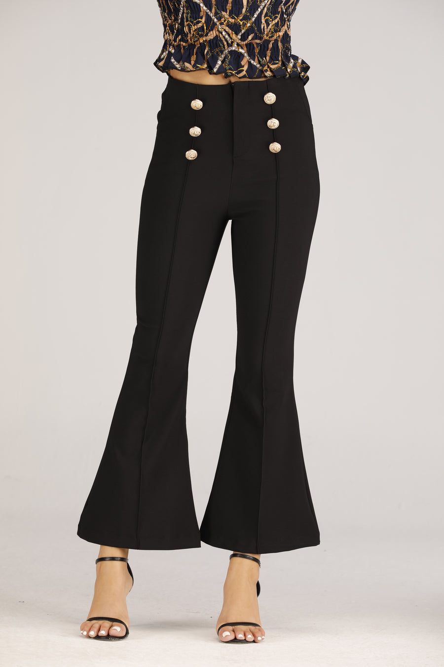 Mantra Pakistan Black Flare Jeans with Gold Button | BOTTOMS