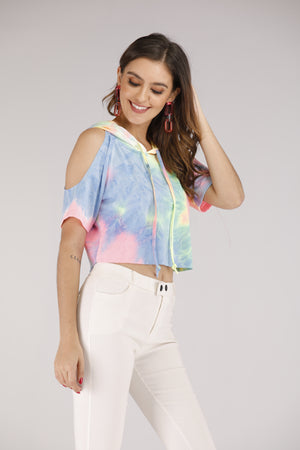 Mantra Pakistan Cold shoulder Tie Dye Cropped Hoodie | TOPS