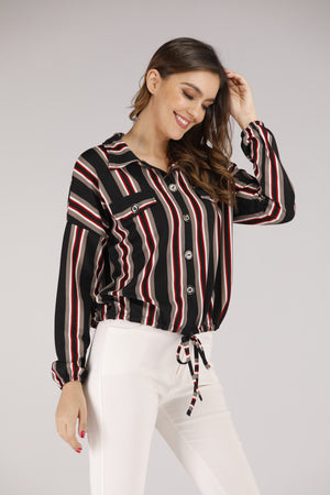 Mantra Pakistan Stripe Button Down Shirt with Front Tie | TOPS