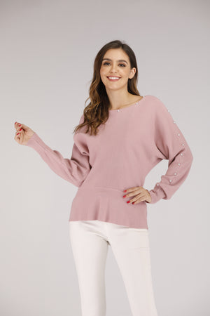 Mantra Pakistan Pink Sweater with Pearls | OUTERWEAR