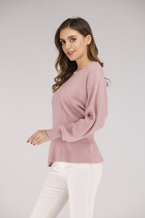 Pink Sweater with Pearls