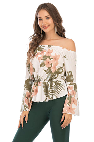 Mantra Pakistan Floral Top with flare sleeves | Western Wear