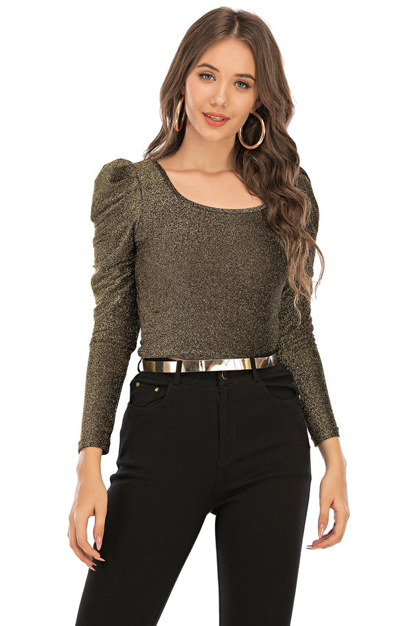 Golden Glitter puffy sleeve top