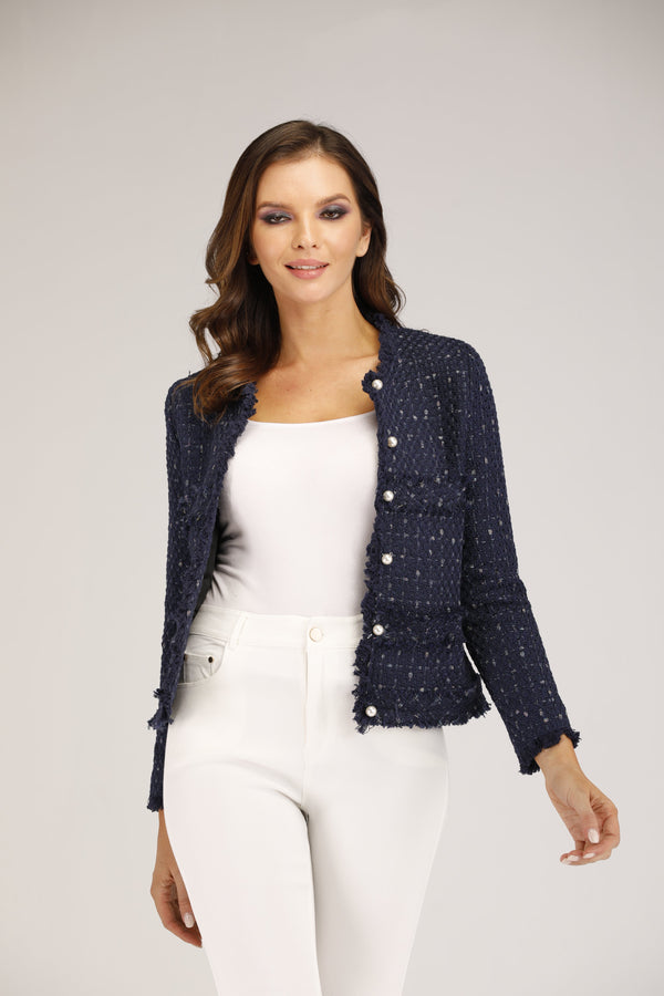 Mantra Pakistan Blue Tweed Jacket with Gold Buttons | OUTERWEAR