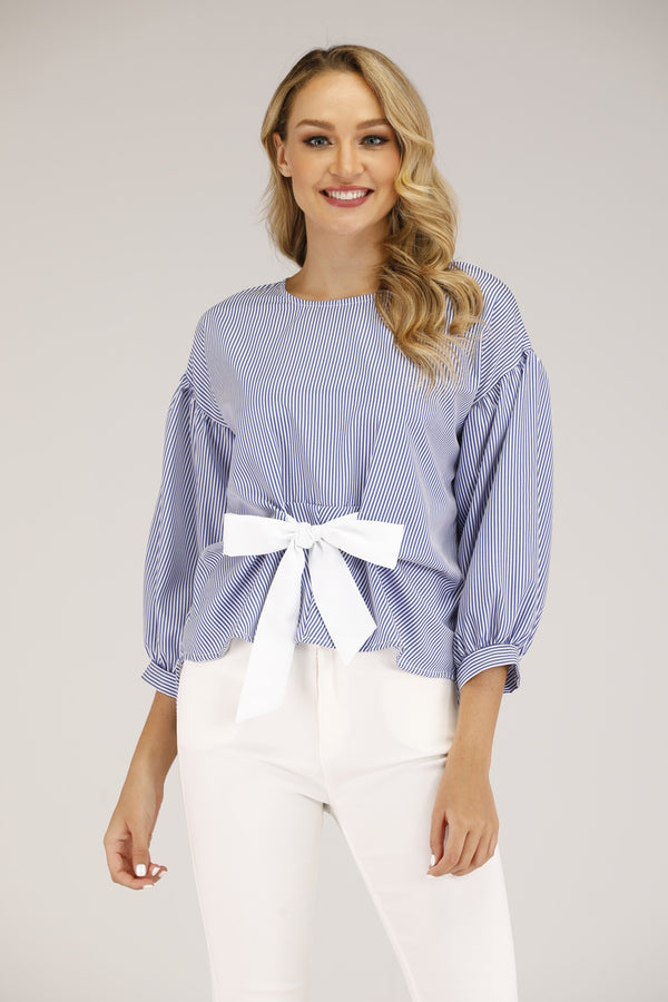STRIPED TOP WITH BOW