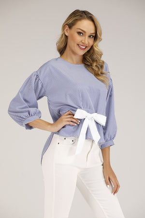 Mantra Pakistan STRIPED TOP WITH BOW | TOPS