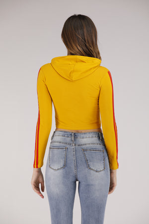 Mantra Pakistan Yellow Hoodie with Red Stripe | TOPS