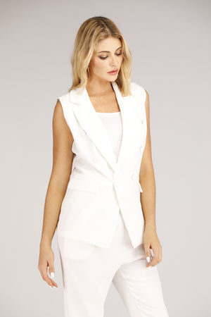 White Sleeveless Suit