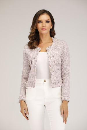 Mantra Pakistan Pink Tweed Jacket | OUTERWEAR