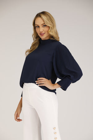 Mantra Pakistan Pleated Sleeves Top | TOPS