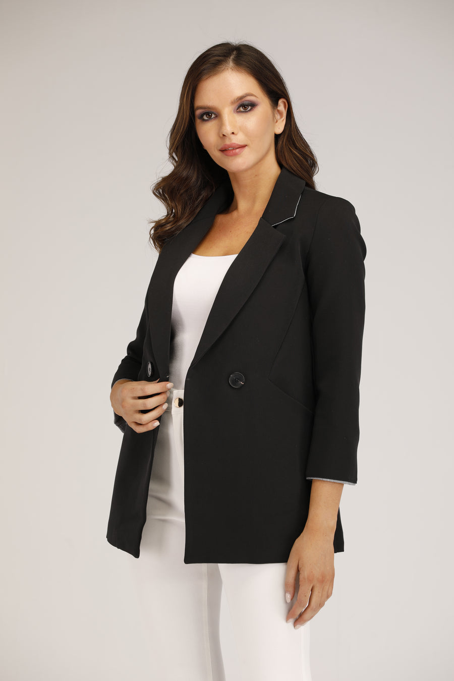 Mantra Pakistan Black Blazer with Ribbon | OUTERWEAR