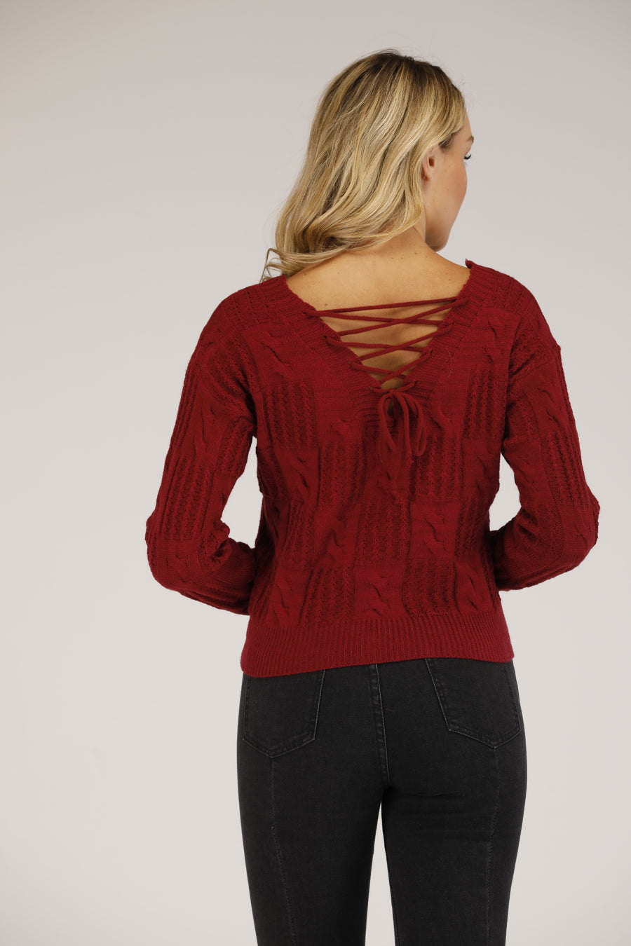 Mantra Pakistan V-Neck Sweater with lace up back | OUTERWEAR