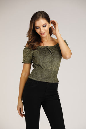 Mantra Pakistan Shiny Gold Scrunched Top | TOPS