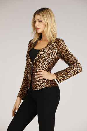 Mantra Pakistan Cheetah Print Blazer | TOPS