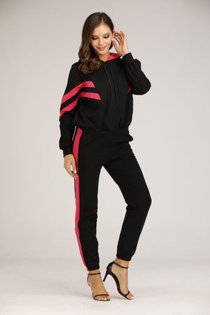Mantra Pakistan Black and Pink Sweat Suit | OUTERWEAR
