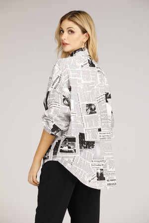 Mantra Pakistan Newsprint Button Down Shirt | TOPS