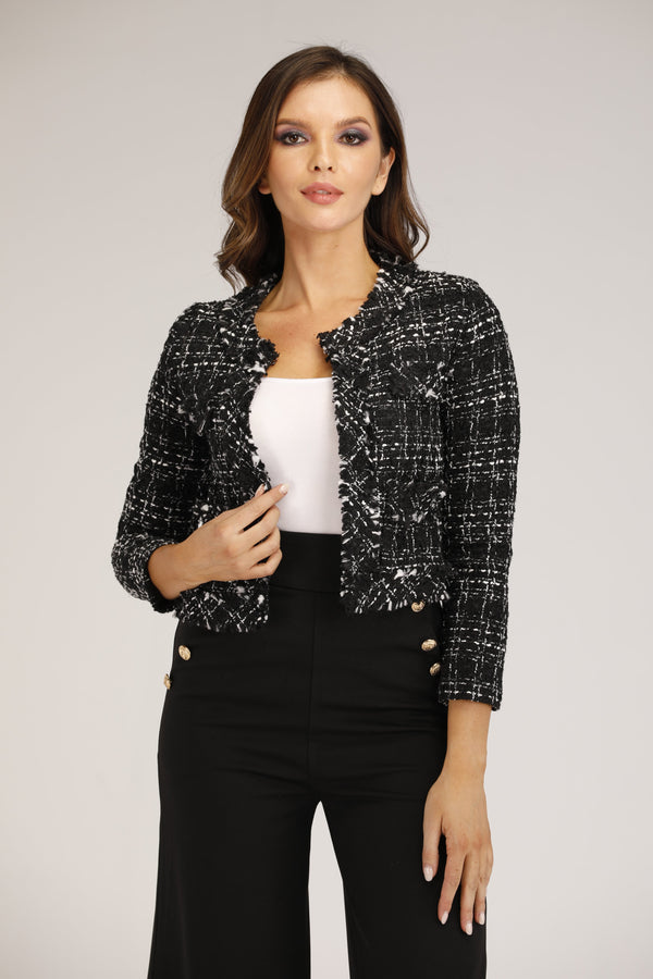 Mantra Pakistan Black Tweed Jacket | OUTERWEAR