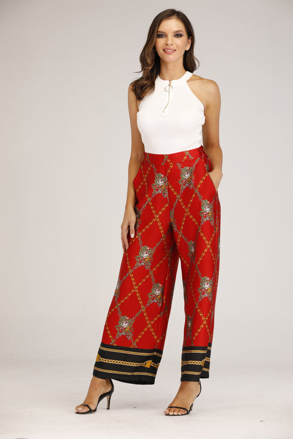 Red Chain Print Pants