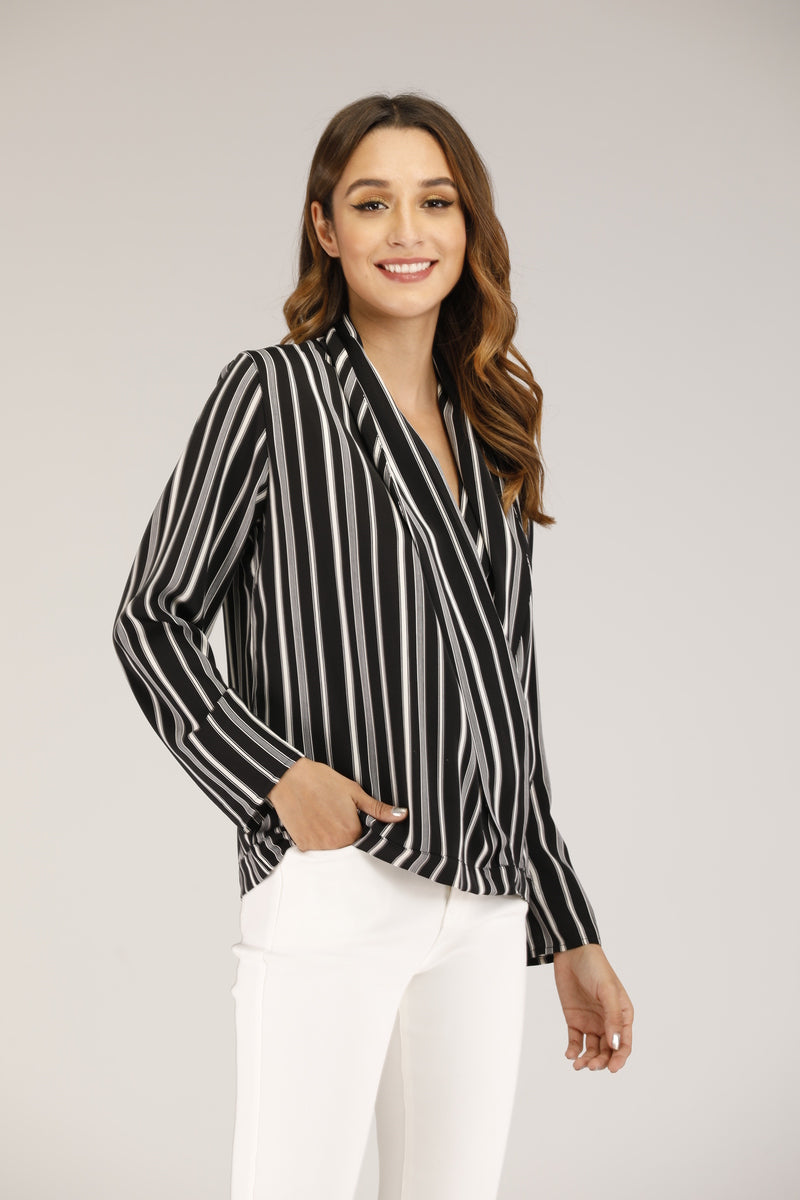 Mantra Pakistan BLACK AND WHITE STRIPED TOP | TOPS