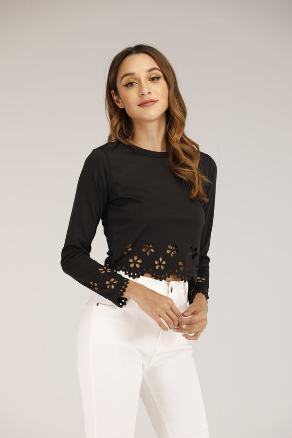 Mantra Pakistan BLACK CUT-OUT TOP | TOPS