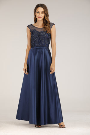 Mantra Pakistan Metallic Blue Evening Dress | DRESS