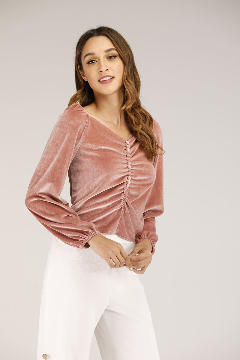 Velvet Ruched top