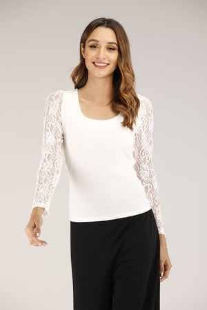 Mantra Pakistan Floral lace sleeve shirt | TOPS
