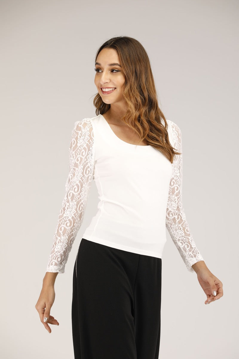 Floral lace sleeve shirt