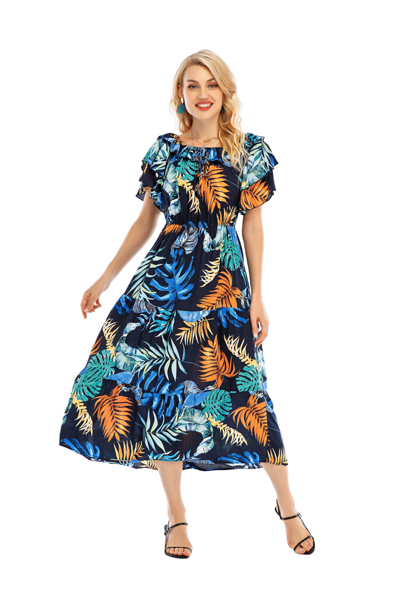 TROPICAL PRINT OFF SHOULDER DRESS