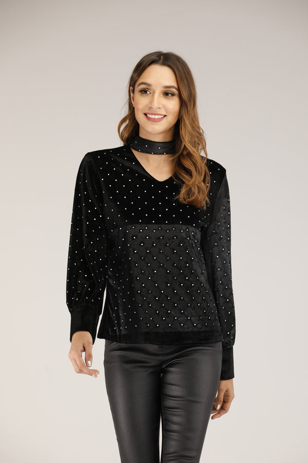 Mantra Pakistan Cutout Velvet Top with Diamonte | TOPS