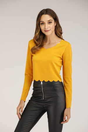 Mantra Pakistan SCALLOPED HEM LONG SLEEVE TOP | TOPS