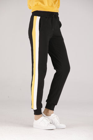 Mantra Pakistan Black Sweatpants with White Stripe | BOTTOMS