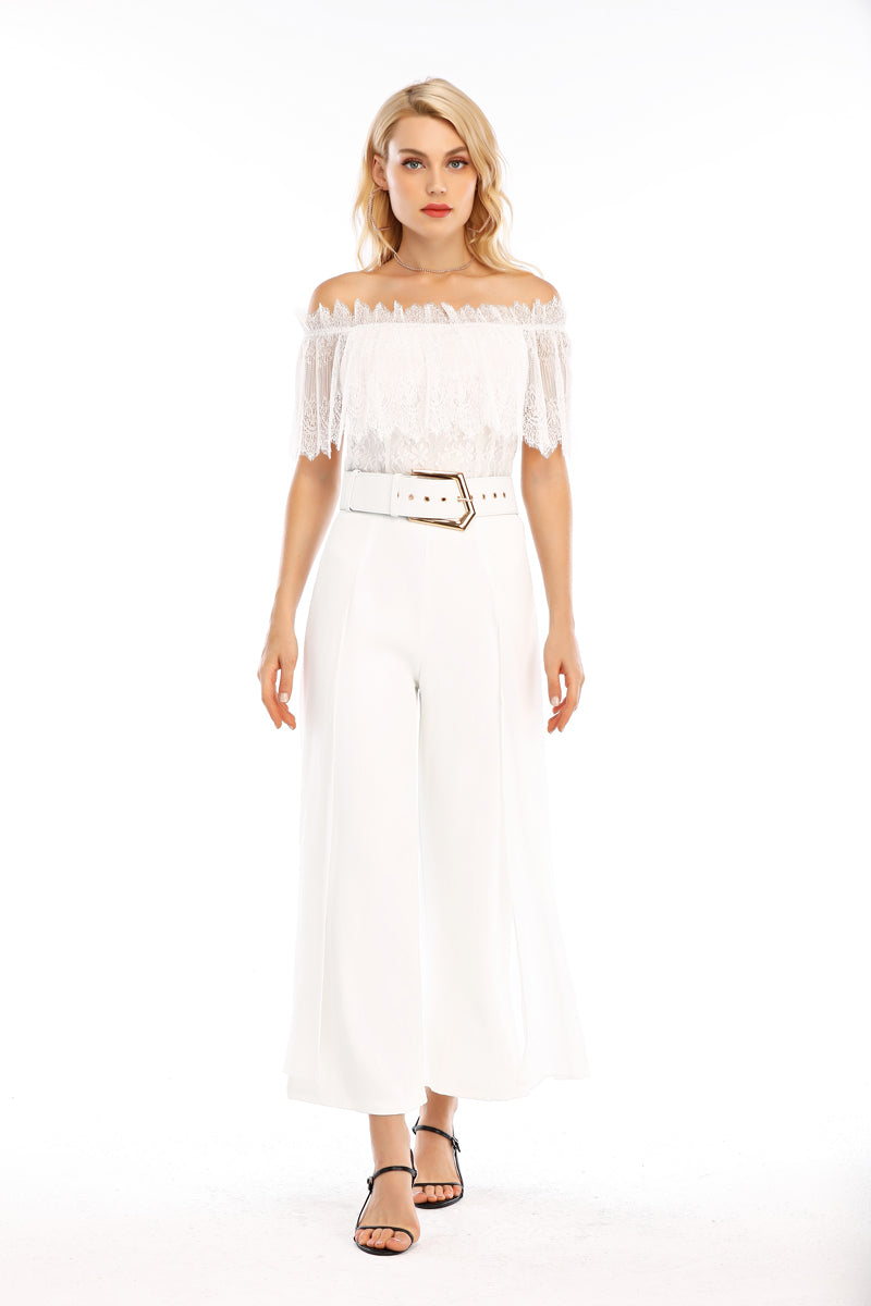 MESH SEQUIN TOP WITH WIDE BELT PANTS