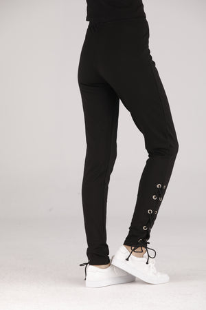 Mantra Pakistan Black Tights with Side Tie | BOTTOMS