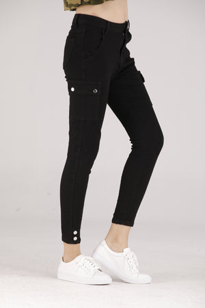 Mantra Pakistan Black Cargo Jeans With Silver Buttons | BOTTOMS